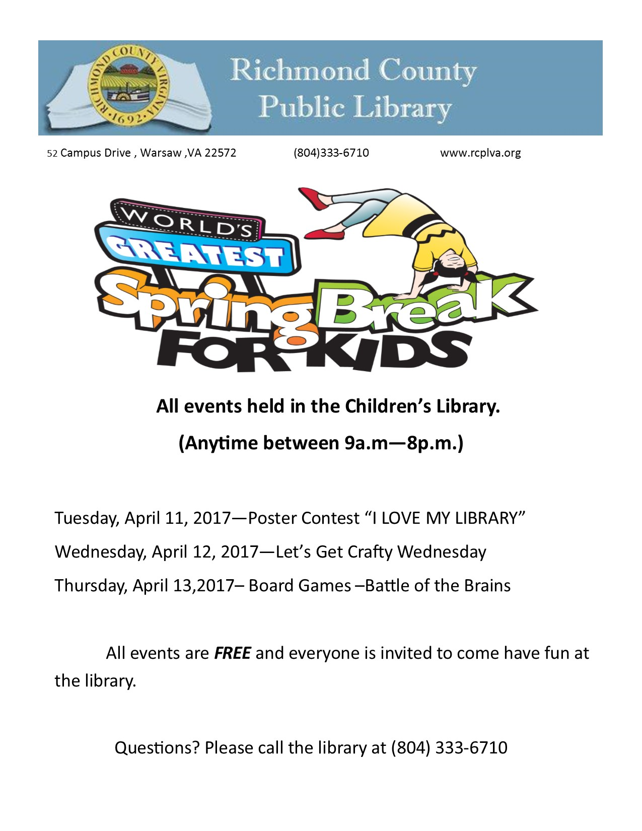 World's Greatest Spring Break for Kids! @ Richmond County Public Library