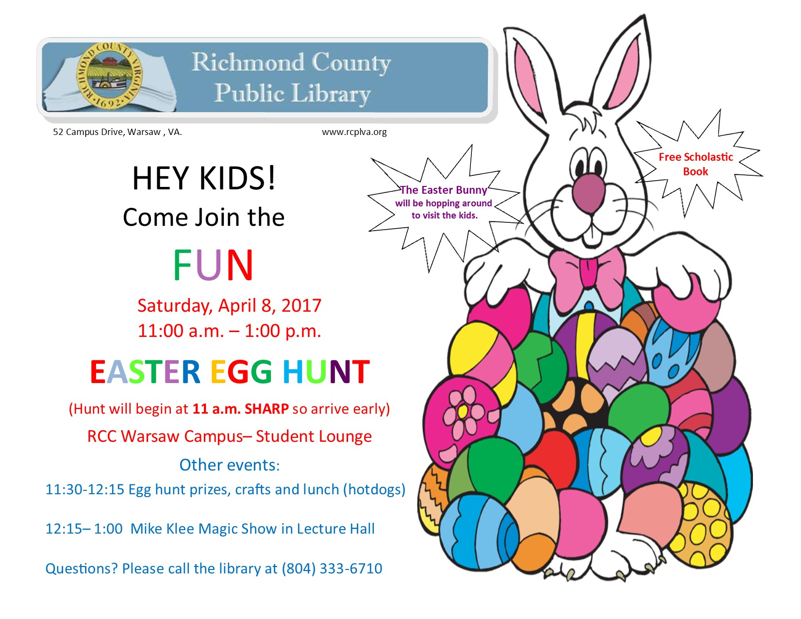 2nd Annual Easter Egg Hunt! @ Richmond County Public Library