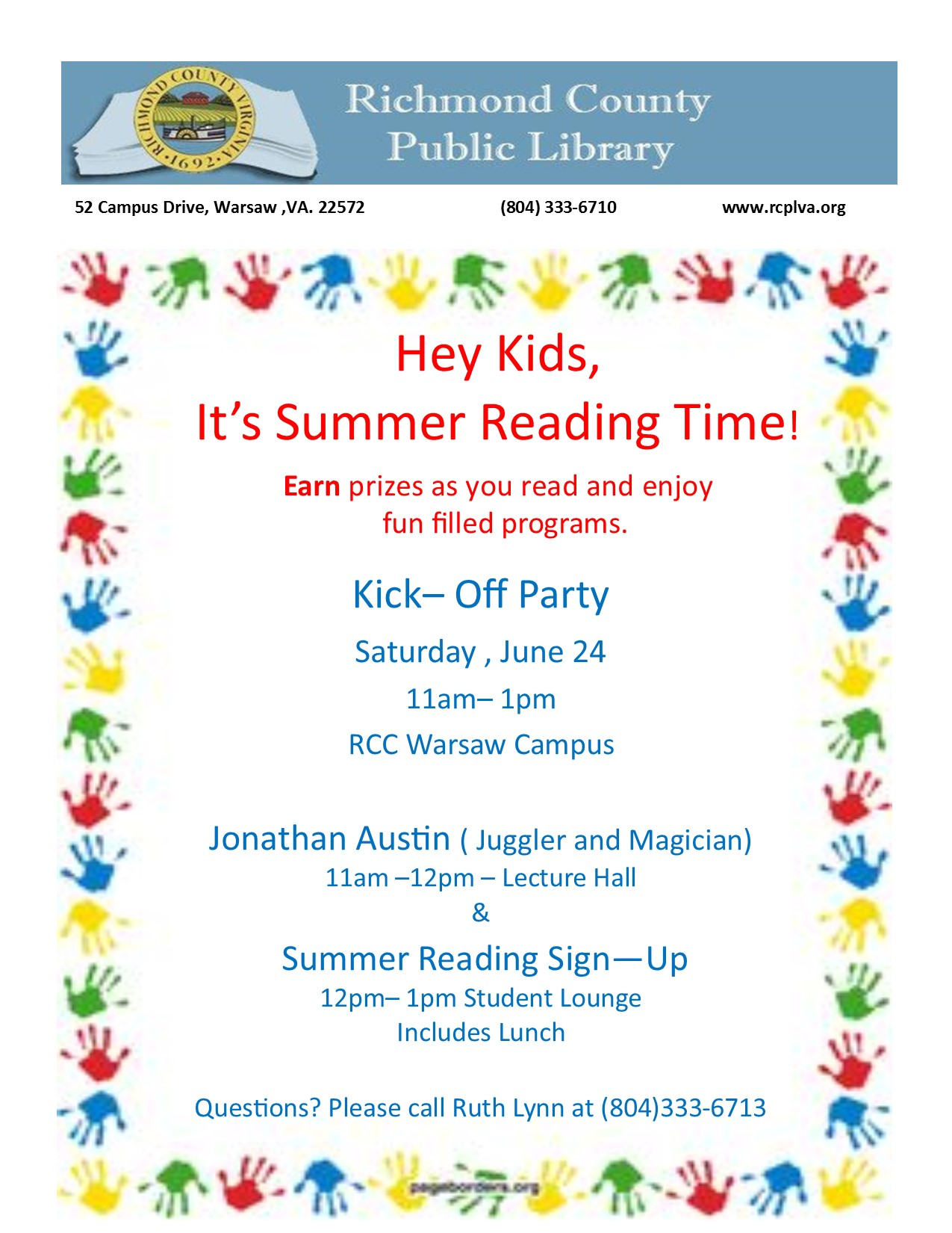 Summer Reading Kick Off Party!!! @ Richmond County Public LIbrary