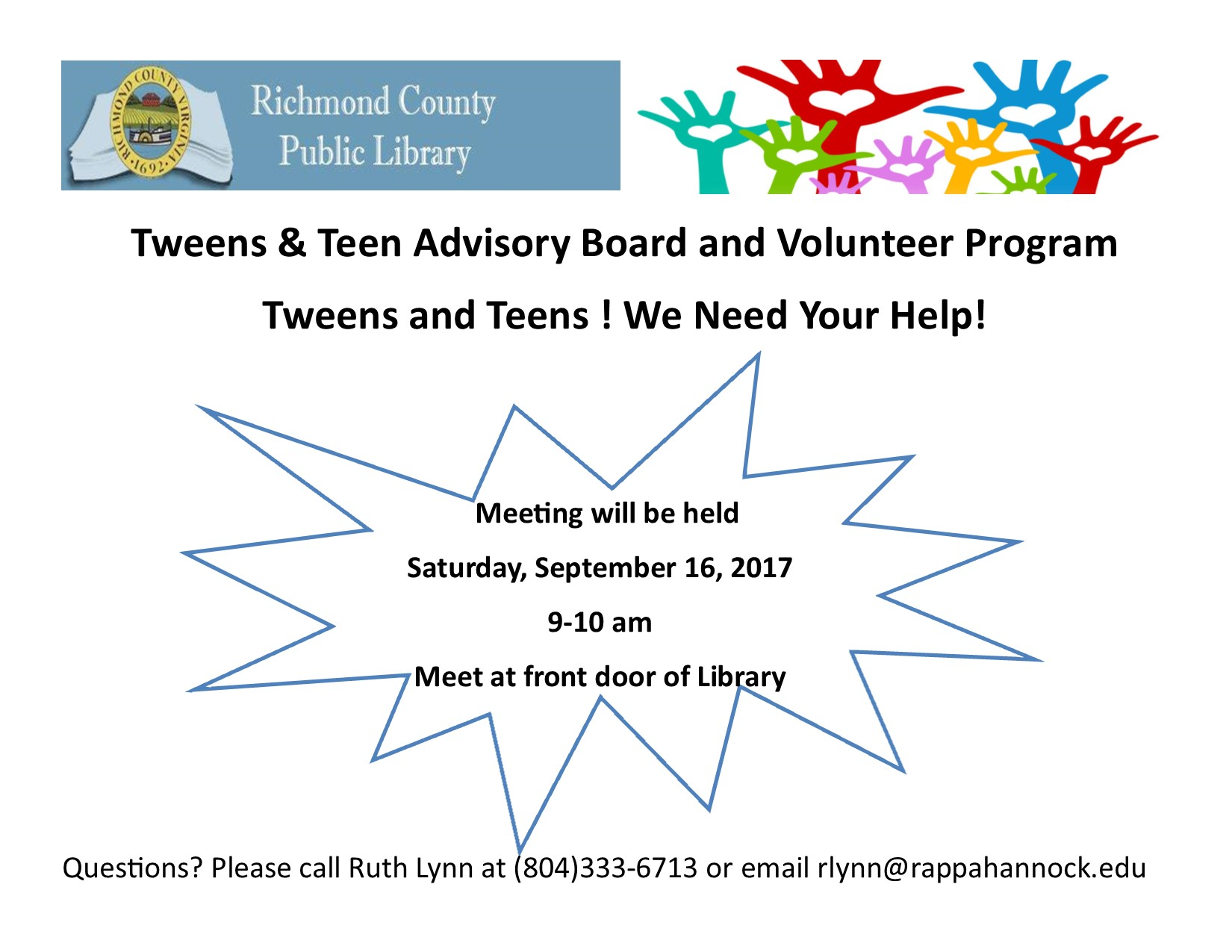 Tweens & Teen Advisory Board and Volunteer Program Meeting @ Richmond County Public Library