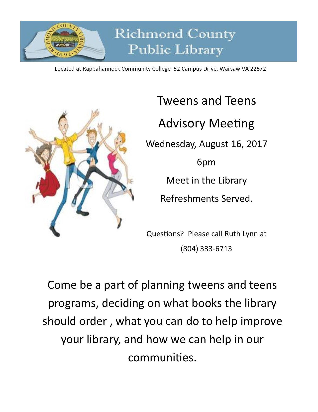 Tweens and Teens  Advisory Meeting @ Richmond County Public Library