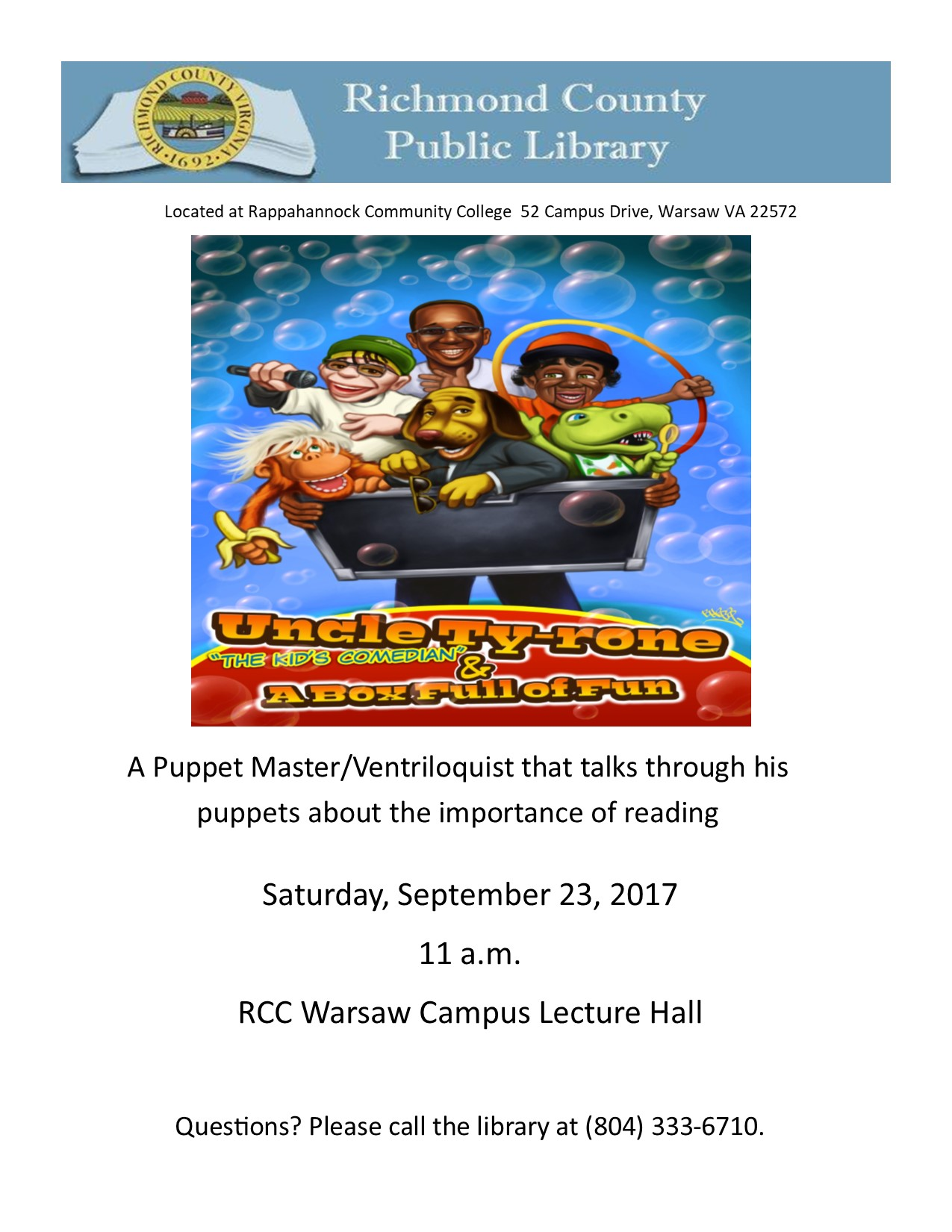 Uncle Ty-rone & A Box Full of Fun @ Rappahannock Community College Warsaw Lecture Hall