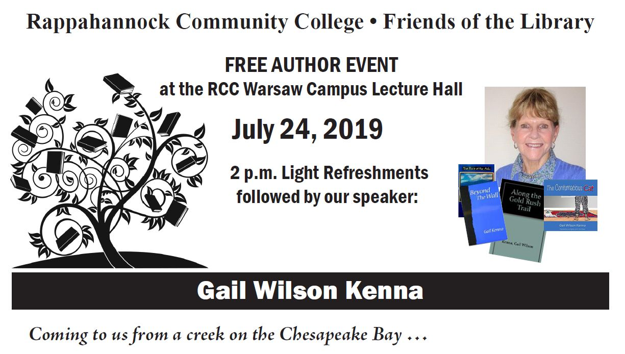 Friends of the Library Author Talk with Gail Kenna @ Rappahannock Community College Lecture Hall