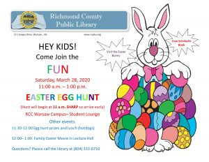 Easter Egg Hunt, Hot Dog Lunch, and Easter Movie! @ Richmond County Public Library/ RCC Campus Student Lounge
